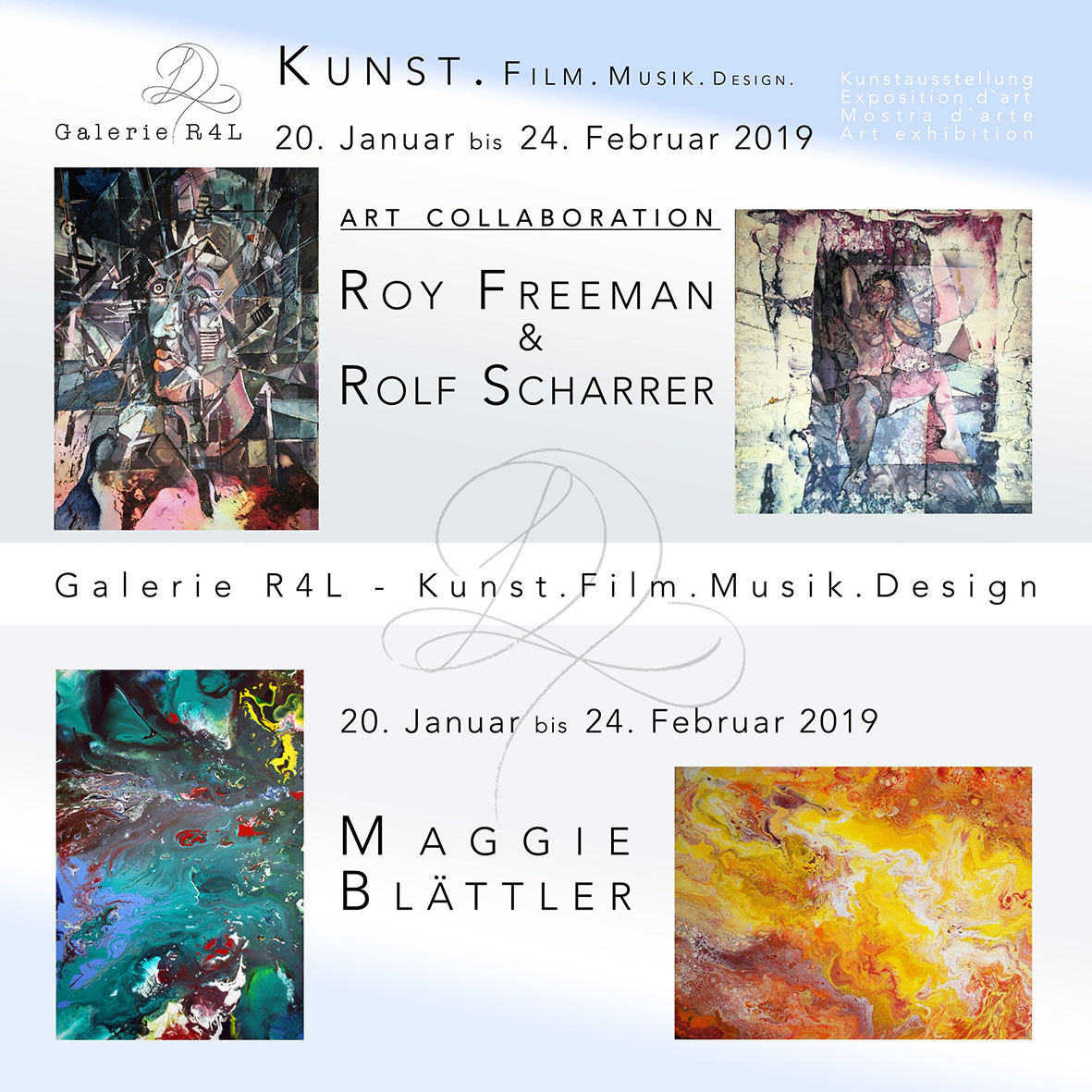 Kunstausstellung Roy Freeman & Rolf Scharrer & Maggie Blaettler